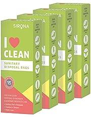 Sirona Sanitary Disposal Bags - 60 Pcs | for Discreet Disposal of Tampons, Condoms, Diaper, Sanitary Pads, Panty Liner | Bathroom Trash Bag