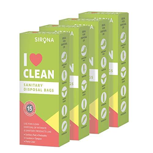 Sirona Einweg-Hygienebeutel - 60 Beutel für die diskrete Entsorgung von Tampons, Kondomen, Windeln, Damenbinden, Slipeinlagen und Abfällen aus der Körperpflege