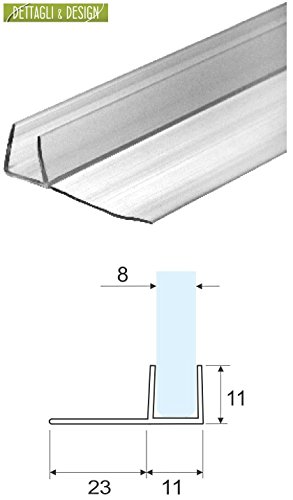 2,20 mt - Guarnizione box doccia con aletta morbida da 23 mm per vetro 6 e 8 mm