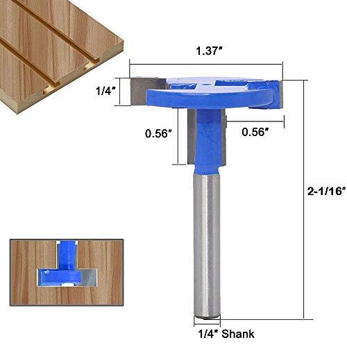 0,63 cm Schaft, T-Nut-Fräser-Bit, Hartmetall, Holz-Fräser, T-Schiene, Holzbearbeitung, Bohrer, Werkzeug, 6,35 mm (1/4 Zoll) Schaft, blau