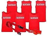 WIXSOO Canotta Fischietto Salvataggio 3 Pack Uomo (L, 3 Canotte Stampa Fronte Retro + Fisc...