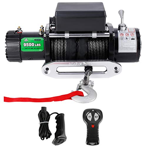9500 lbs Powersports Winch for ATV UTV Jeep, 12V IP67 Waterproof Electric Winch with Synthetic Rope, Wireless Handheld Remote and Wired Handle