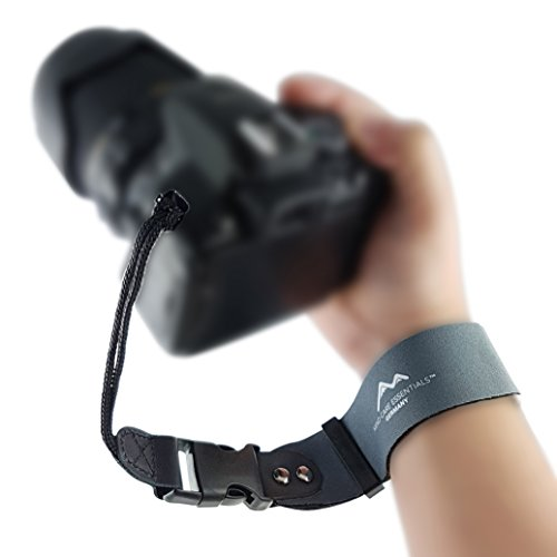 Correa de mano de neopreno para cámara de fotos extra ancha, cierre de clic, color gris, para cámaras réflex digitales y compactas, correa de muñeca para correa de muñeca de Mind Care Essentials