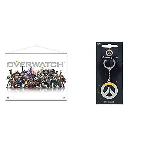 Overwatch Wallscroll Heroes & Overwatch Keychain Logo