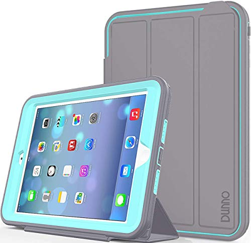 case up ipad 3 protection cases iPad Mini case iPad Mini 2 case iPad Mini 3 case DUNNO Heavy Duty Full Body Rugged Protective Case Whit Auto Sleep/Wake Up Stand Folio & Three Layer Design for Apple iPad Mini 1/2/3 (Grey/Light Blue)