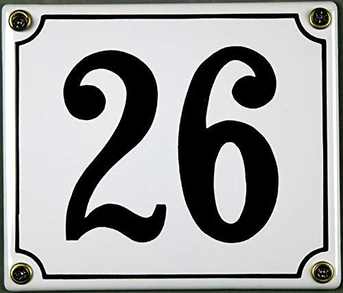 FS Emaille Hausnummer 26 weiß/schwarz Blechschild Schild Metal Sign 12x14 cm