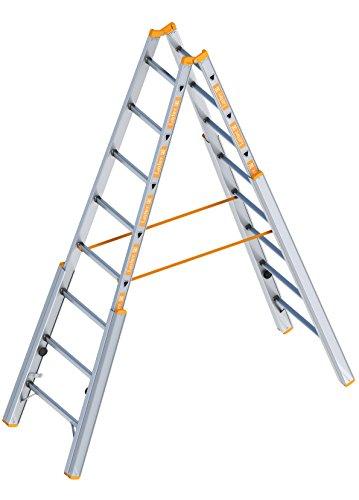 Layher 1061008 Treppenstehleiter TOPIC 8 Sprossen, Aluminiumleiter klappbar mit verstellbaren Holmen, Länge 2.40 m