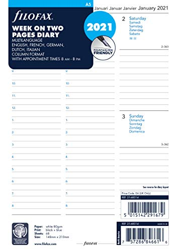 Filofax 2021 Terminplaner, A5, 1 Woche auf 2 Seiten, 5 Sprachen, Terminplaner