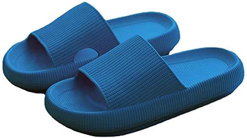 Pillow Slides Slippers, Unisex Massage Foam Bathroom Slippers, Non-Slip Thick Sole Slippers, Super Soft Quick-Dry Home Slippers for Women and Men (Blue, (6.5-7.5 Women/6.5-7 Men))