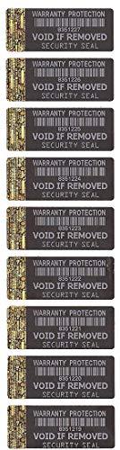 Etiquetas de protección de garantía, con banda holográfica y número de serie único.
