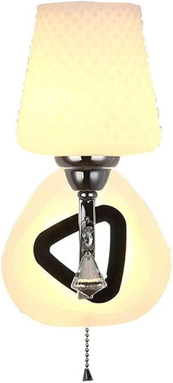 SLIANG Wandleuchte Schlafzimmer Nacht Einzigen Kopf LED Seil Schalter Gang Treppen Glas Wandleuchte (Zwei Optionen) (Farbe   A, gre   31cm 12.2inchx16cm 6.3inch)