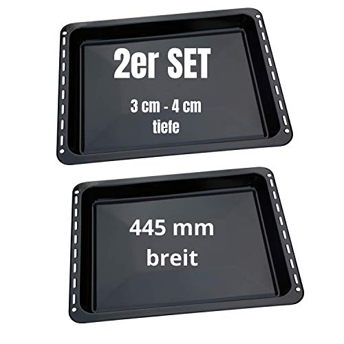 UD UNIQ DEALZ 445 x 375 x 30 mm und 40mm SPARSET mit 2 Backbleche emailliert passend für Bauknecht Whirlpool Ignis IKEA auch Neckermann Lloyds Quelle Privileg Matura
