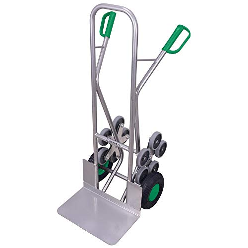 Vollmontierte Aluminium Treppenkarre 6 Räder Hemmdal PRO - Mobile Profi Alu Sackkarre | Tragkraft 200 kg | Ladeschaufel 480x300 mm | Treppensteiger mit Gleitkufen
