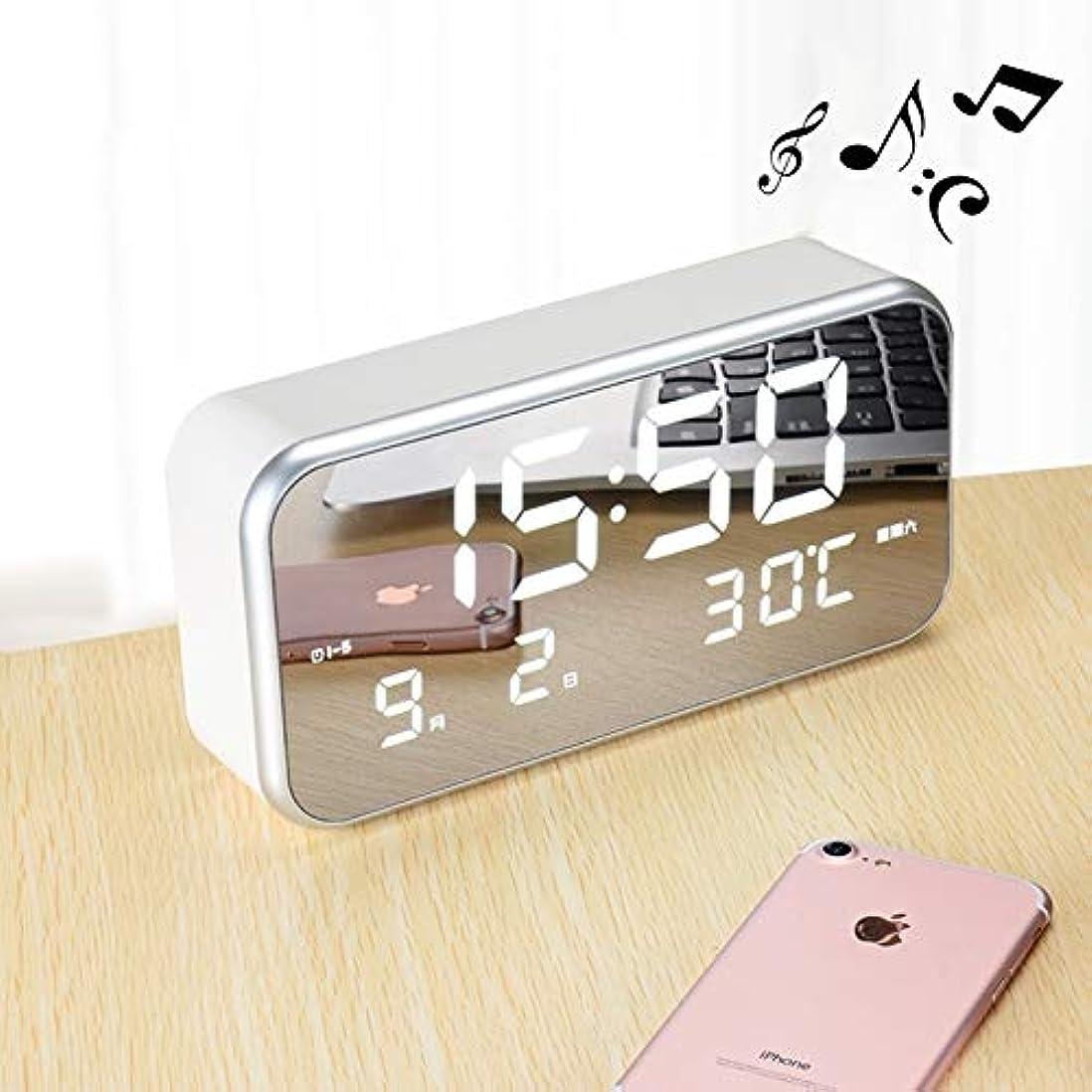 王女スイス人閃光家の装飾 時間/週/温度/カレンダー表示&リモコン、DC 5Vの多機能大画面LEDデジタル音楽目覚まし時計 ホームデコレーションアクセサリー