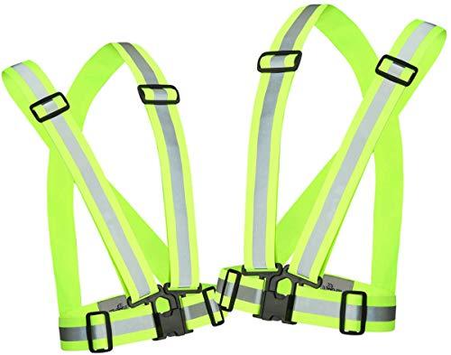 Reflective Running Vest Gear 2 Pack | Hi Vis Made of Silver Reflector Tape | Adjustable, Lightweight, Elastic Reflective Vest | Safety Vests for Women, Men & Jogging, Cycling, Dog-Walking, Car | S/M