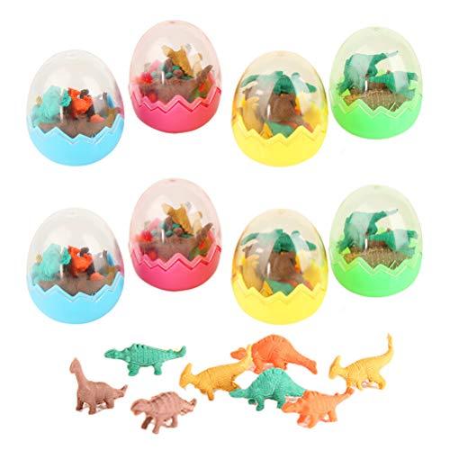 8 stuks mini dieren gummen set voor kinderen, dinosaurus ei speelgoed Dino gum gum voor gastgeschenken als verjaardagscadeau en creatief speelgoed party kleurrijke grappige gum