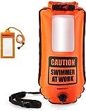 BUDDYSWIM Boya de Seguridad para Natación en Aguas Abiertas de 28 litros. Incluye Funda Estanca para el Móvil. Color Naranja.