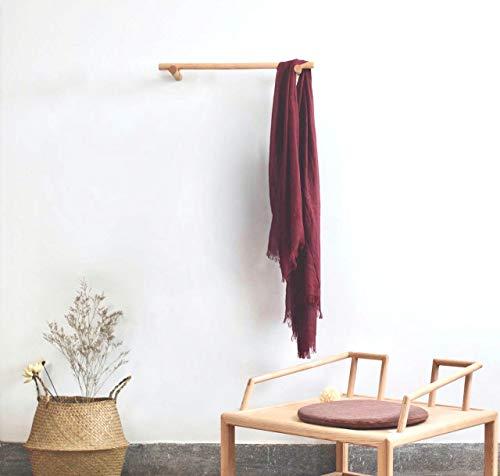 anaan Line Design Kleiderstange Holz Kleidergestell Wand Wandgarderobe Handtuchhalter Hängeleiste Wandmontage (Buchenholz, 60)