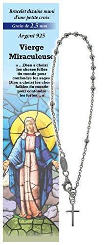 Pulsera Decenario Virgen de los Milagros de plata 925 con cuentas de Ø 2,5 mm y una oración en francés