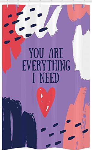 ABAKUHAUS Gezegde Douchegordijn, Jij bent alles dat ik nodig heb, voor Douchecabine Stoffen Badkamer Decoratie Set met Ophangringen, 120 x 180 cm, Mauve en Multicolor