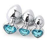 Modelo de corazón azul con fondo redondo Ànâl 3 piezas/juego de diamantes de cristal de metal accesorios de piedras preciosas colgante juego de masaje juguete Plûg