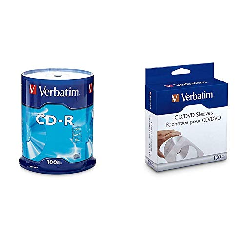 Verbatim CD-R 700MB 80 Minute 52x Recordable Disc - 100 Pack Spindle - 94554 & CD/DVD Paper Sleeves-with Clear Window 100pk
