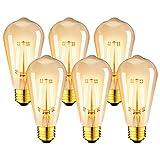 LVWIT Bombillas Marrón ST64 de Filamento LED E27 (Casquillo Gordo) - 8W Equivalente a 60W, 806...