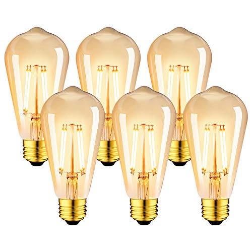 LVWIT Ampoule à filament LED E27 ST64 7.5W, 865Lm Equivalent à Ampoule Incandescente 60W, Lampe Rétro Edison en Verre Brun, 2500K Blanc Chaud, Non-dimmable, Lot de 6