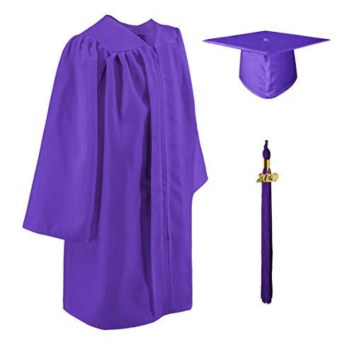 GraduatePro Toga Laurea e Tocco Cappello Laurea Abito di Laurea 2020 per Bambini Studenti Prescolastico Purple 30(3'9'-3'11')