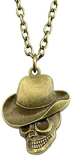 Yiffshunl Collar de Bronce Antiguo Tono 44X35Mm Sombrero Colgante de Calavera Collar para Mujer 2021 Vintage Regalo Collar Regalo