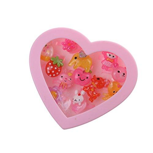 Caja de Joyería Forma de Corazón Anillos Plásticos Rosada Chica Presente Niños - 12pcs #3