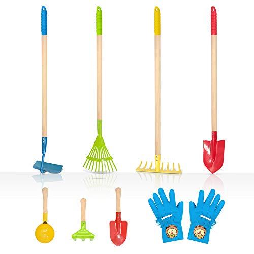 Hortem Kinder Gartengeräte Set 8-teilig, enthalten 4-teilig Kinder Lange Gartengeräte, 3-teilig Kleine Gartenhandwerkzeuge und Gartenhandschuh für Kinder
