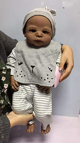 Zero Pam 23 inch 57cm Black Reborn Baby Dolls Boys Realistic Silicone Vinyl Full Body Washable Baby African American Dolls Black Lifelike Reborn Newborn Toddler Dolls Best Gifts