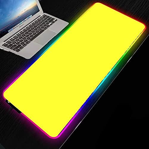 Podkładki pod mysz do gier żółta tapeta RGB duża gamingowa podkładka pod mysz LED do laptopa podkładka pod klawiaturę podkładka na biurko dla notebooka gracza-50 cm x 90 cm