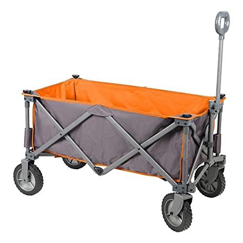 PORTAL Collapsible Folding Utility Wagon Quad Compact Outdoor Garden Camping Cart Removable Fabric,...