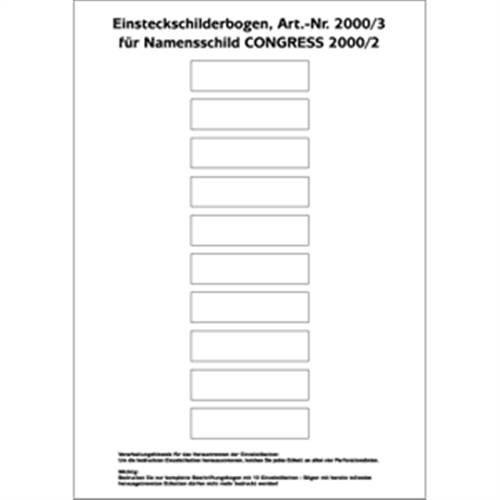 Insteekborden voor naambord CONGRESS 2000, 1,73x6,95cm