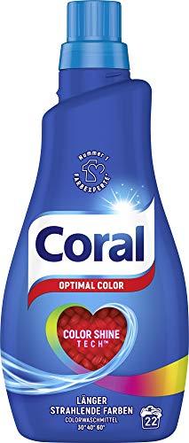 Coral Waschmittel flüssig für bunte Wäsche – 22 Waschladungen hygienisch reine Wäsche, extra stark gegen Flecken – Optimal Color Flüssigwaschmittel ( 1 x 1,1 L)