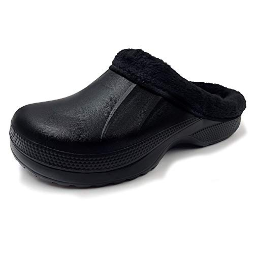AMOJI Zuecos Forrados de Invierno Zapatos de jardín de Piel Forro Polar Forro de Ferry Zapatillas Calzado para el hogar Habitación Forro difuso Hombres Mujeres Negro 1534 Talla 39 EU
