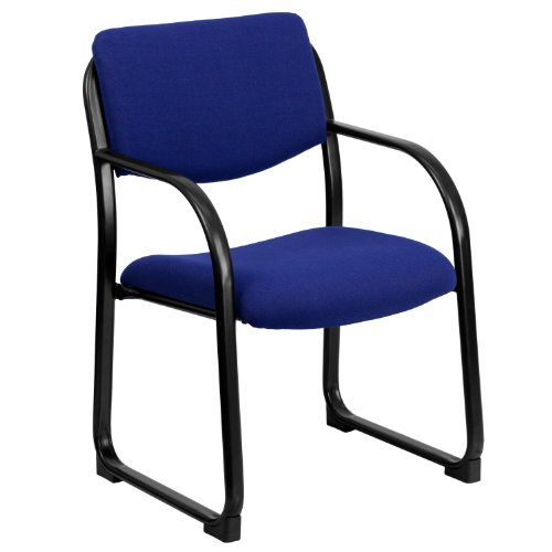 Flash Furniture Navy Fabric Executive Side Reception Chair with Sled Base