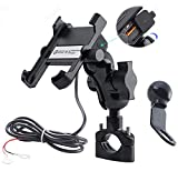 iMESTOU Aluminium Motorcycle Phone Mount Handlebar USB 3.4A Quick Charge Cell Phone Holder Waterproof...
