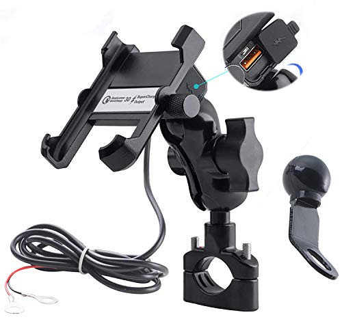 iMESTOU Aluminium Motorcycle Phone Mount Handlebar USB 3.4A Quick Charge Cell Phone Holder Waterproof Handlebar/Rear-View Mirror 360 Rotation Bracket for iPhone/Samsung on 10-24V Vehicles