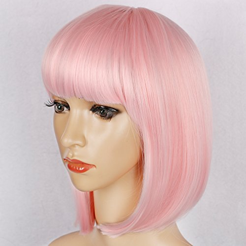 Colorful Bird Short Straight Pink Bob Wig with Flat Bangs Synthetic Pastel Bob Wig for Women Cosplay Daily Party Wig Heat Resistant (Pink,12 inches)