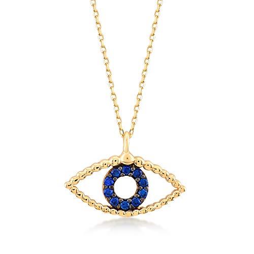 Gelin Gold dames meisjes halsketting van 14 karaat - 585 echt geelgoud met gouden hanger oog oogje ketting 45 cm
