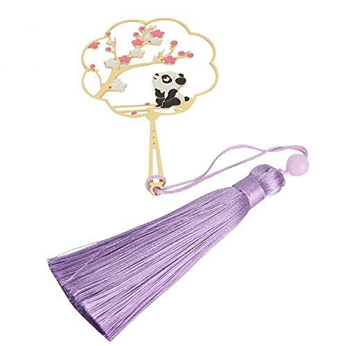 Segnalibri Panda/Cervo/Coniglio Segnalibro circolare in ottone in stile cinese con nappa Miglior materiale scolastico per regali e collezioni(Panda A)