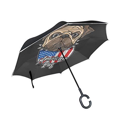 Lindo Perro Pug Bandera Americana Paraguas Invertido Plegable de Doble Capa Paraguas Inversos Reverso para Automóvil con Mango en Forma de C
