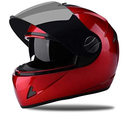 YINUO-Casque Casque de moto électrique batterie de voiture mâle dames quatre saisons casque intégral intégral hiver chaud couvre casque taille totale: 54-60cm (Color : RED)