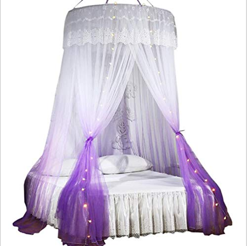 Mengersi Princess Bed Canopy with Lights Round Dome Bed Curtains Mosquito Net for King Queen Full Twin Size Bed(Round Canopy, Purple and White)