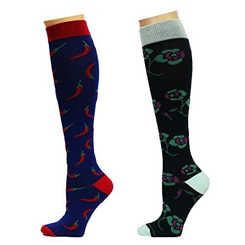Kniehohe therapeutische Kompressionsstrümpfe für Damen, abgestuft, gegen Müdigkeit, 8–15 mmHg, gekämmte Baumwolle, 3 Paar - - Einheitsgröße