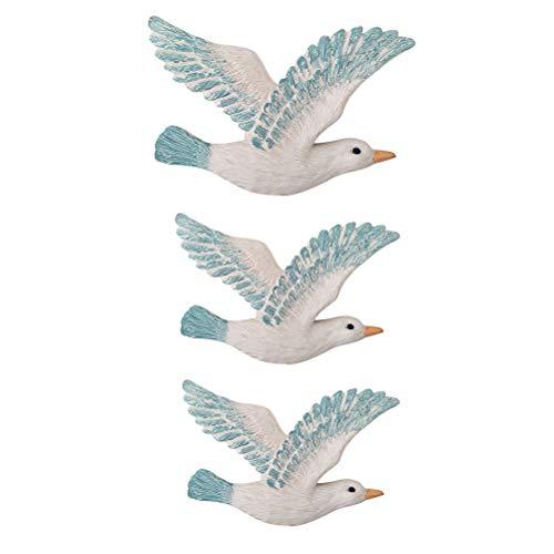 Vosarea Decoración Colgante de Pared de Resina de Gaviotas Aves Decoración de Playa Náutica 3 Piezas