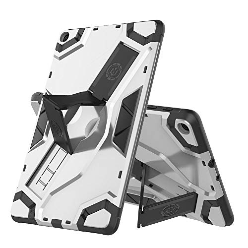 Hfly Compatible with Samsung Galaxy Tab A 8.0 2019 Case SM-T290, PC & Silicone Armor Case with Foldable Stand Shell Cover for Galaxy Tab A 8.0 2019 SM-T290/295/297 (Silver)